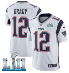Nike Patriots #12 Tom Brady White Super Bowl LII Men's Stitched NFL Vapor Untouchable Limited Jersey